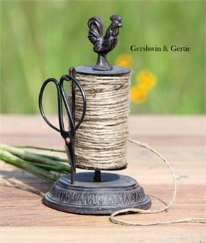 Cast Iron Rooster Rotating String Holder with Shears