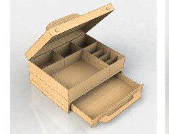 Almacenamiento caja planes para láser CNC corte madera regalo caja madera contrachapada caja madera joyería caja corta modelo svg cdr ai pdf archivos de corte por láser CNC