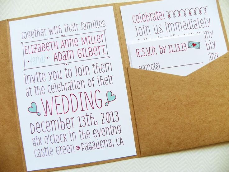 Pocket fold Wedding Invitations - Poster Doodles Signature Pocketfold Invitation Suite