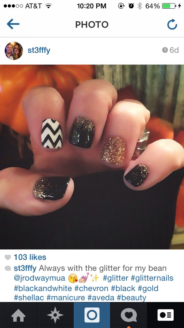 Black and white chevron with gold glitter ombre shellac manicure nails ! For New Years nails or fall nails