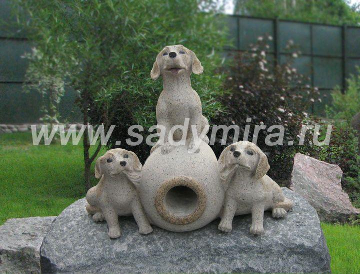 Купить фонтан декоративный со скульптурами собачек (щенков) в России, Мск, Спб