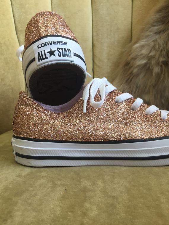Authentic converse all stars in rose gold glitter. Custom