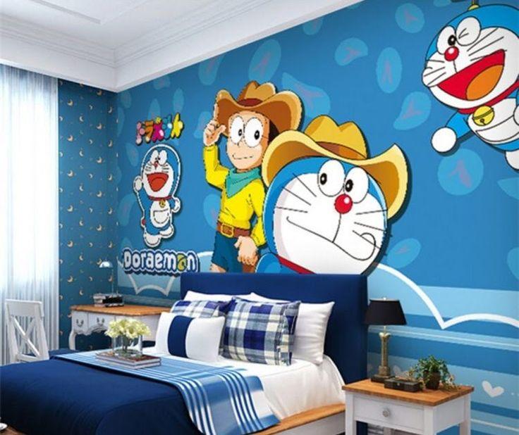 Cat Kamar Doraemon Biru Putih