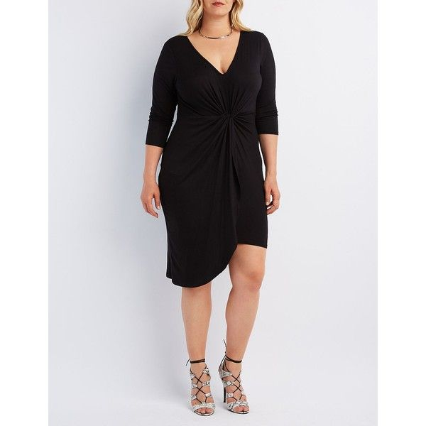 Charlotte Russe Knotted Asymmetrical Dress (20 CAD) ❤ liked on Polyvore featuring plus size women's fashion, plus size clothing, plus size dresses, black, womens plus dresses, plus size short dresses, mini dress, jersey dress and v neck jersey