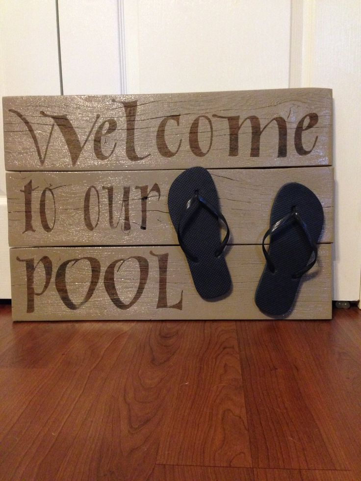 Sign made from old fence boards for the pool, deck, bar, patio, summer