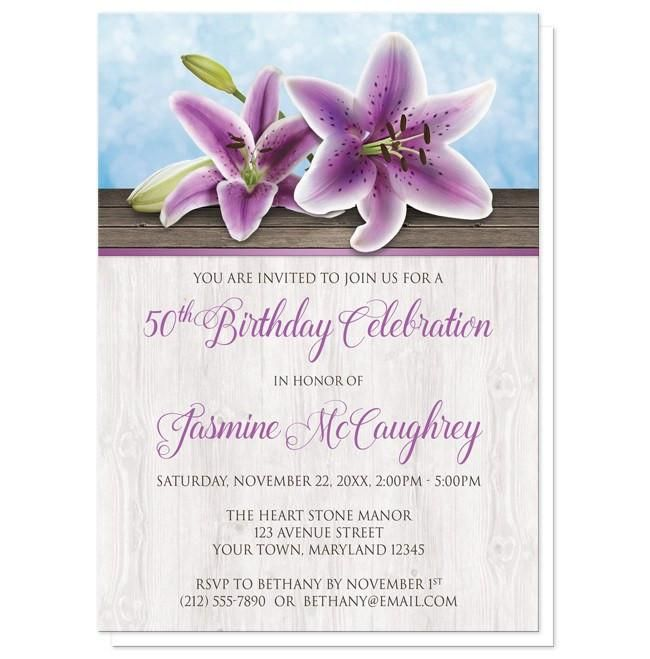 I wanted to share with you these Pretty Floral Wood Purple Lily Birthday Invitations? Do you like them?  | Beautiful floral purple lily birthday invitations to honor her milestone birthday. Floral Southern country inspired purple lily birthday invitations designed with two purple lilies on a wood surface, over a blue background design. Your milestone birthday details are printed in purple and dark brown over a light wood pattern. This lightly rustic floral design is perfect for Spring and…