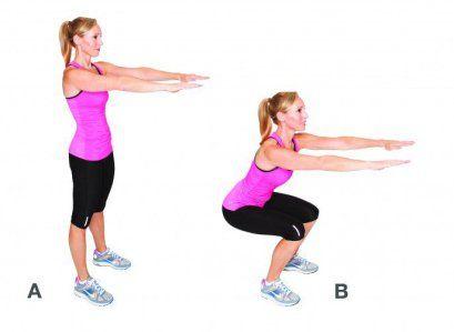 Sentadillas, Este ejercicio trabaja: cuadriceps, isquiotibiales y glúteos
