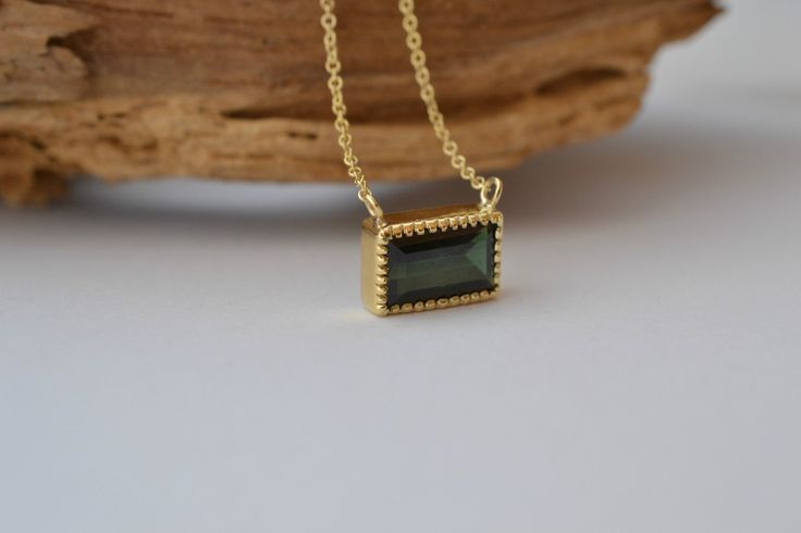 October Birthstone Gold Karma Necklace Handmade Delicate Green Tourmaline Solid 18k Gold best unique jewelry saint patricks day dainty gold by ViazisJewelry on Etsy