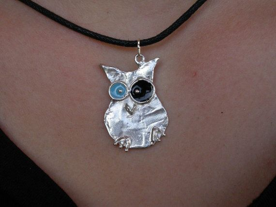 Owl intense look Big  Silver by giolelli on Etsy