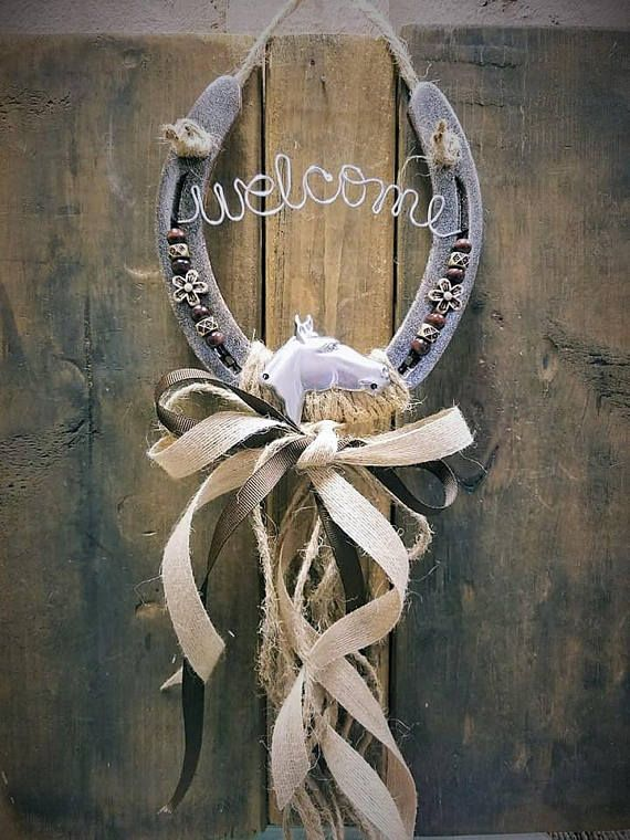 Decorated Horseshoe, Welcome Sign, Horseshoe Decor, Housewarming Gift, Home Decor, Burlap Decor, Country Home, Horse Lover