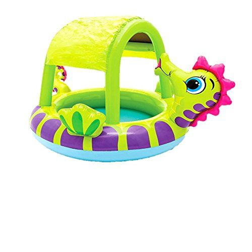 From 15.15 Intex Seahorse Baby Inflatable Swimming Paddling Pool Or Ball Pond #57110np. Shaded Paddling Pool For Babies Or Children