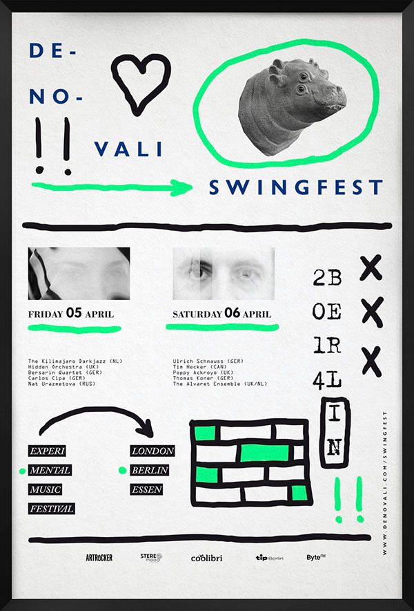 Denovali Swingfest posters. Color and freshness for a experimental and innovated music festival.