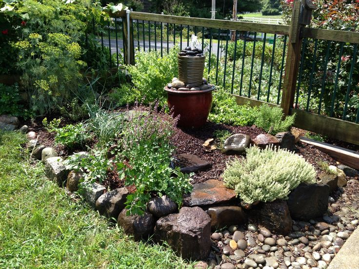 Corner Herb Garden - homemade fountain.