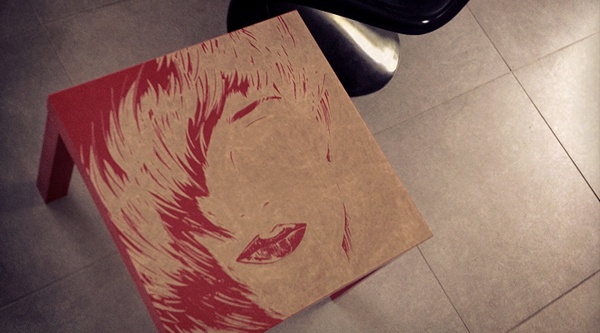redhead walking by teokon , via Behance  #teokon #woodcuts #redhead #abstract