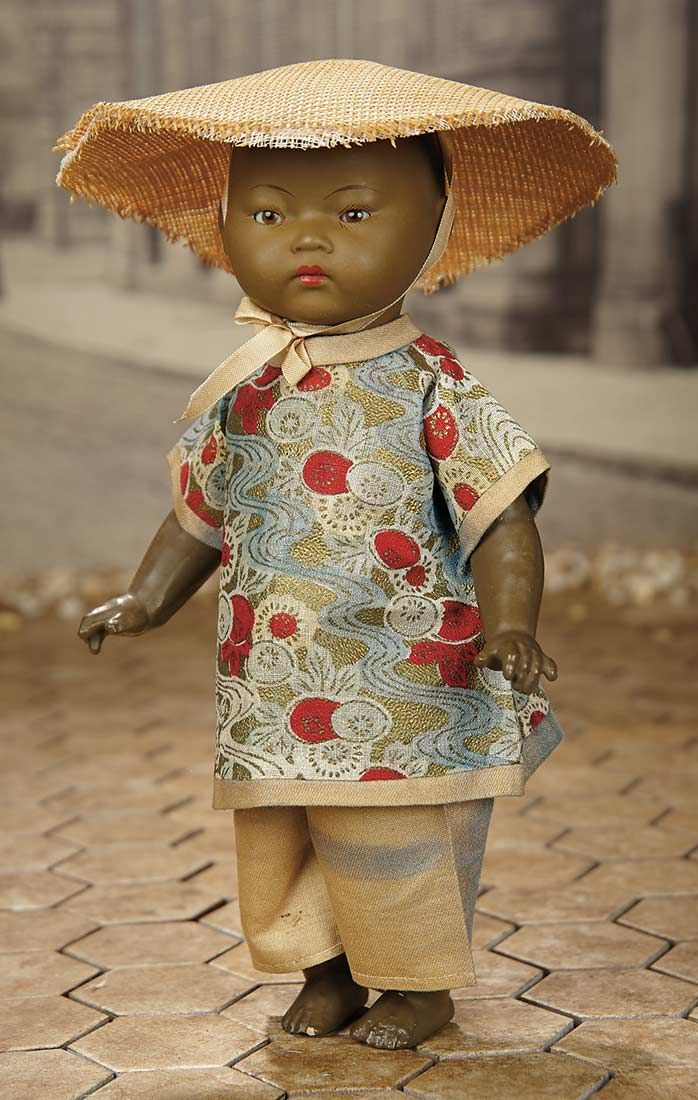 """""""Fascination"""" - Sunday, January 8, 2017: 361 German Brown-Complexioned Bisque Toddler, 353, by Marseille with Original Costume"""