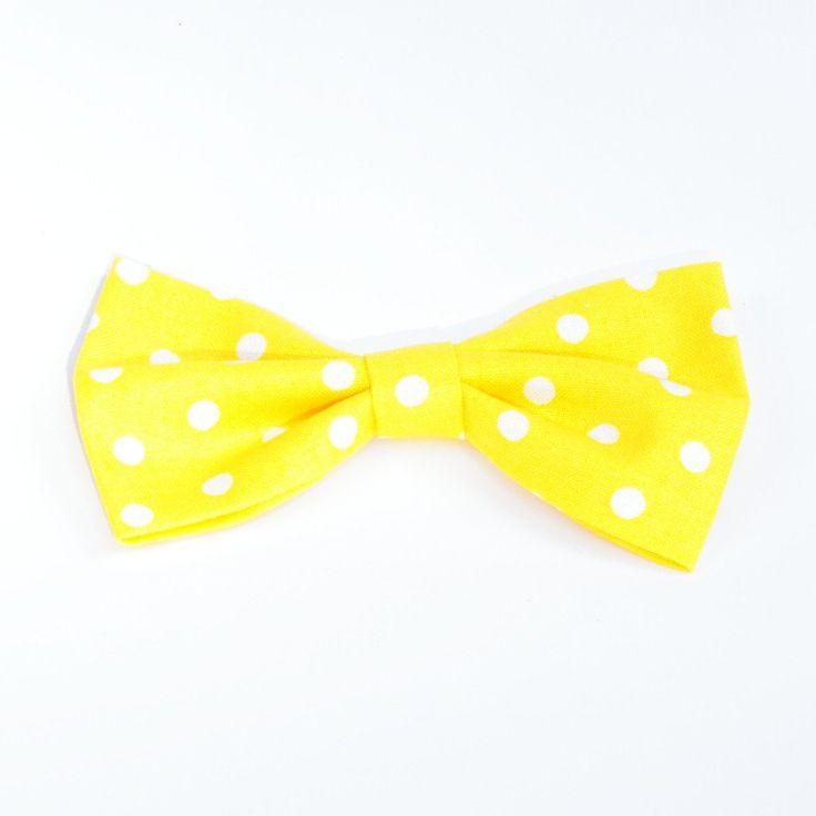 Yellow Polka Dot - Small Bow