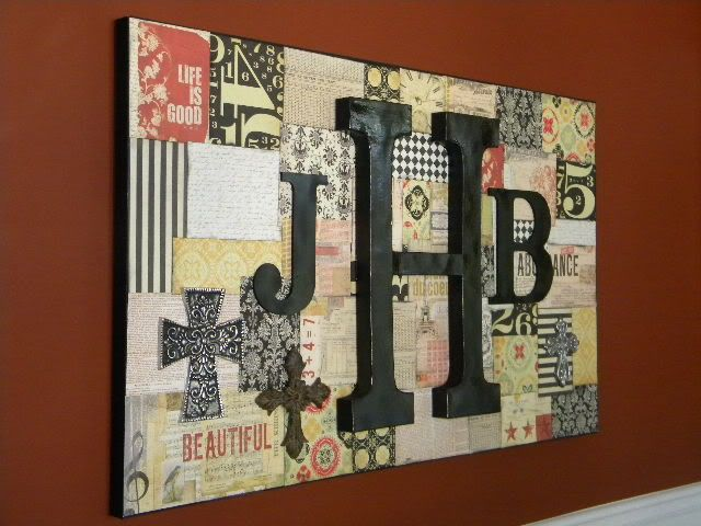 Large canvas + scrapbook papers + mod podge + paint + wooden letters = AMAZING personalized art for your wall!! But with actually cute paper