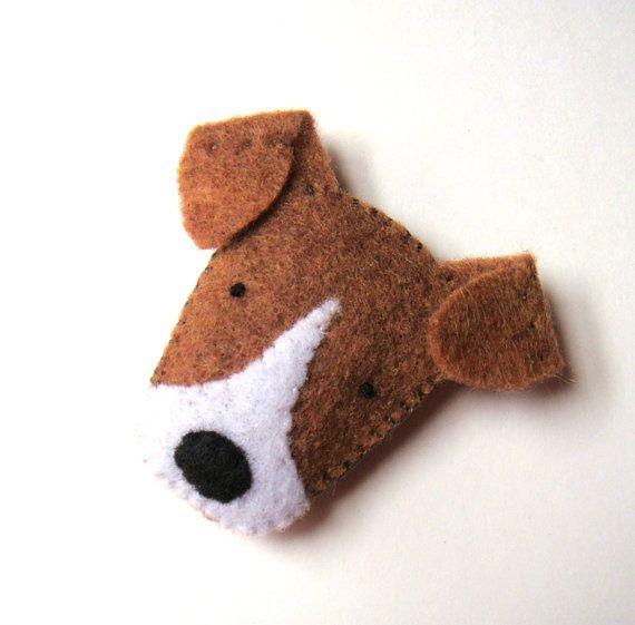 Felt Brooch Cute Dog Pin Jack Russell Terrier Badge par mikaart
