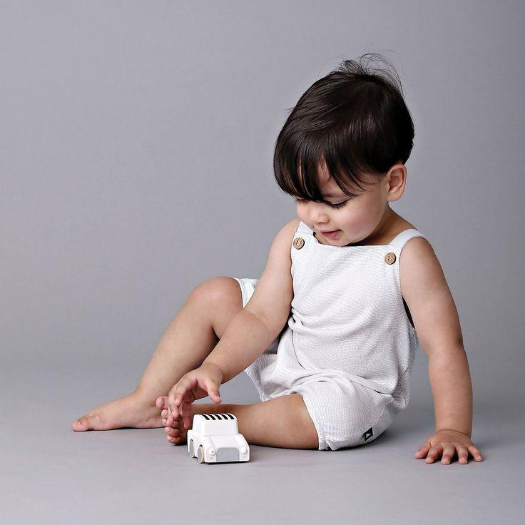 Organic baby clothing - Ethi- Etch bubble playsuit grey
