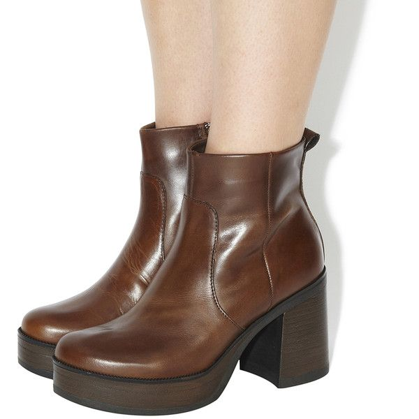 Office Iggy Chunky Boots (277.535 COP) ❤ liked on Polyvore featuring shoes,  boots. Brown Leather Ankle ...
