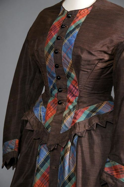 Dress, late 1860s, Shippensburg University Fashion Collection --- trimmed with inset plaid, very interesting!