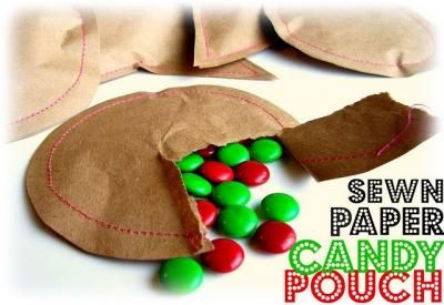 Make your own candy pouches - homemade treats, or buy more in bulkParty Favors, Candies Pouch, Ideas, Sewn Paper, Christmas, Parties Favors, Paper Candies, Stocking Stuffers, Sewing Machine