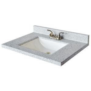 X Moonscape Wave Cultured Granite Vanity Top With White Rectangular Bowl