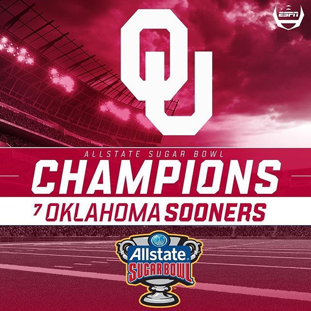 Oklahoma wins the Sugar Bowl!  Baker Mayfield throws for 296 yards and 2 TDs to help the Sooners beat Auburn 35-19.