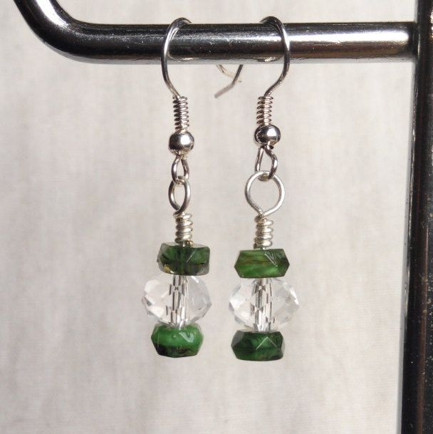 Christmas sparkly earrings green crystal silver . made in Ireland. by terramor on Etsy