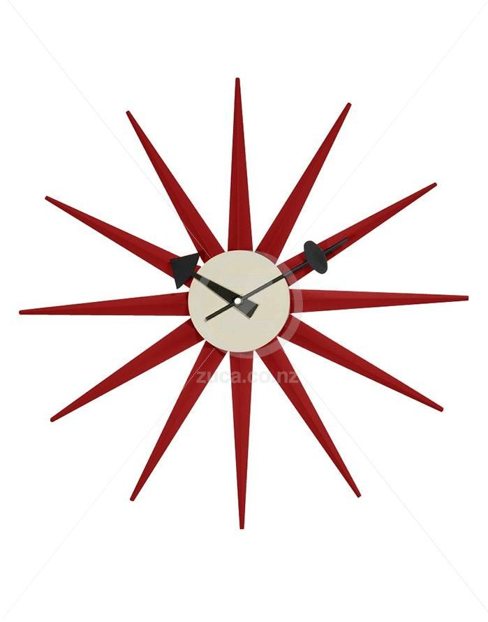 Replica George Nelson Sunburst Wall Clock - Red | ZUCA | Homeware, Chairs…