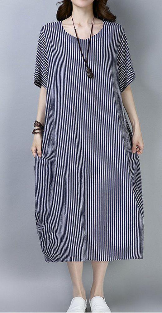 8450ab3c8a8c Women loose fit dress stripes tunic short sleeve large size Bohemian Boho  casual #unbranded #dress