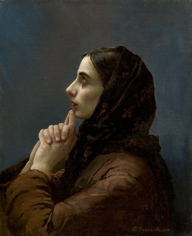 Vasily Surikov - Young Woman at Prayer, 1879