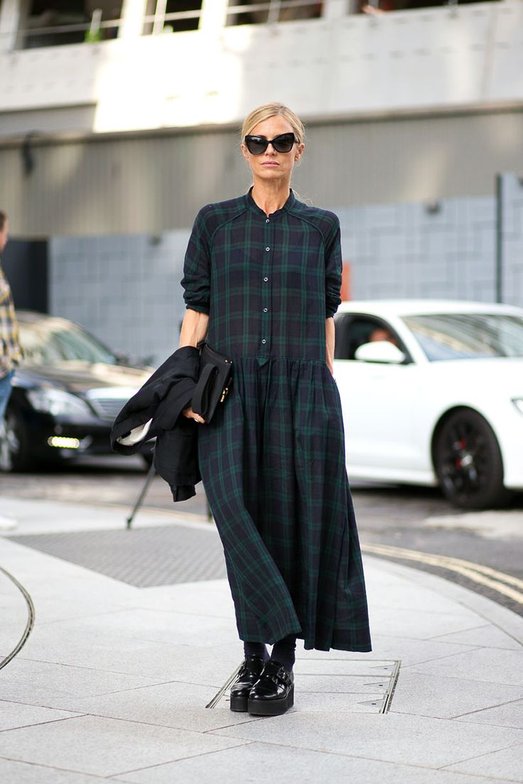 Laura Bailey takes the classic British check print to another level with maxi lengths and platform loafers! Love the shades too …