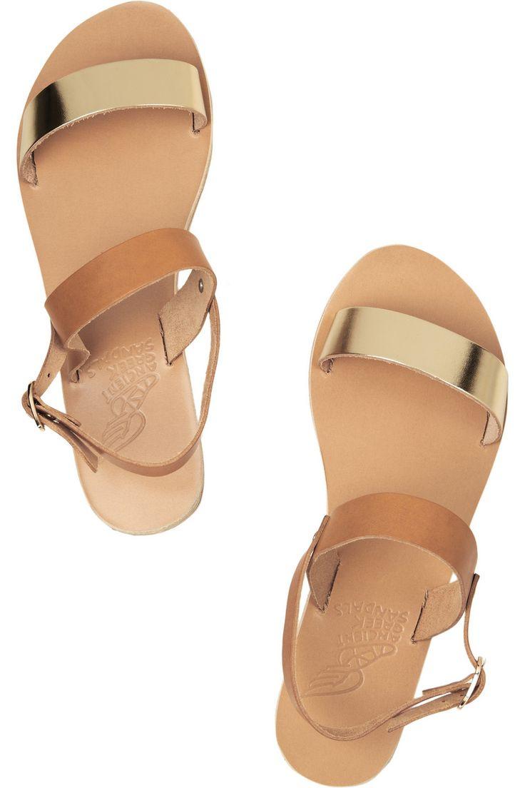 Ancient Greek Sandals|Clio two-tone leather sandals|NET-A-PORTER.COM
