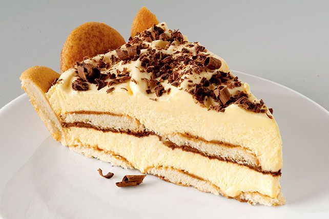 It's tiramisu. And it's an easy-to-make pie. This delectable dessert sports layers of creamy pudding and delicate NILLA wafers all drizzled with coffee.