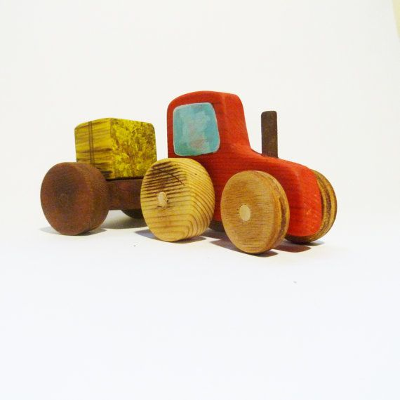 Free shipping Wooden toy tractor with hay by Wheelsandpaintings, $37.00