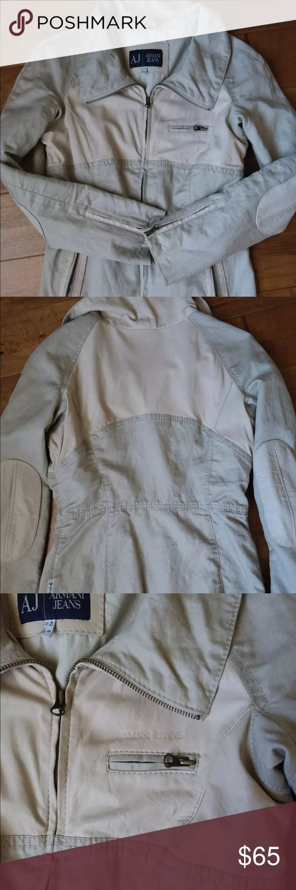 Armani Jeans Beautiful Armani Jeans jacket. Leather and fabric. Wore only a few times. Armani Jeans Jackets & Coats Blazers