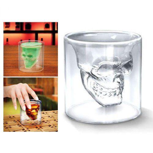 4x Verre Alcool «Tete Mort» Head Shot Skull Crystal Glass Crane Cristal Coupe vodka verrerie: Environ 75ml Attention: Ceci est juste un…