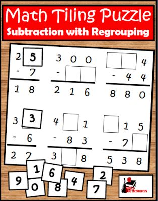 Free Subtraction with Regrouping Tiling Puzzle   Can your students subtract with regrouping? This Subtraction with Regrouping Tiling Puzzle challenges students to see if they truly understand this concept. Students also work on critical thinking skills and problem solving strategies. Download this free puzzle from my Teachers Pay Teachers store.  3-5 critical thinking math Raki's Rad Resources subtraction tiling puzzle subtraction with regrouping tiling puzzles