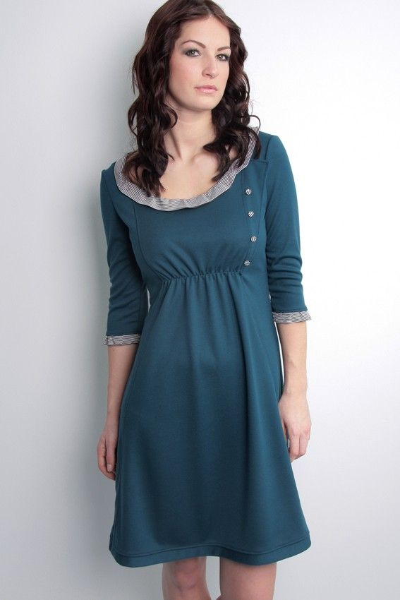 Jersey Dress. Blue with Ruffles.