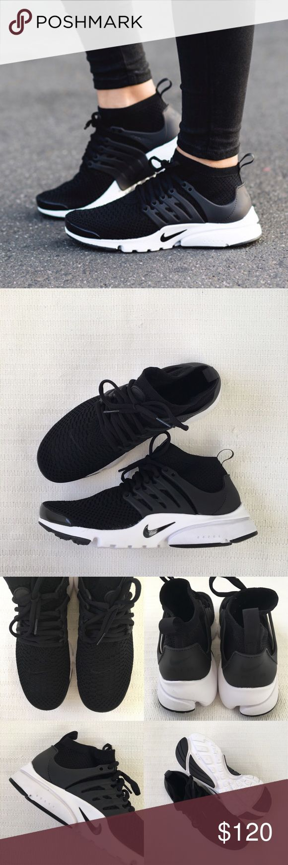 Women's Nike Air Presto Ultra Flyknit Sneakers Women's Nike Air Presto Ultra Flyknit Black Sneakers Style/Color: 833860-101  • Women's size 9.5  • NEW in box (no lid) • No trades •100% authentic Nike Shoes Sneakers