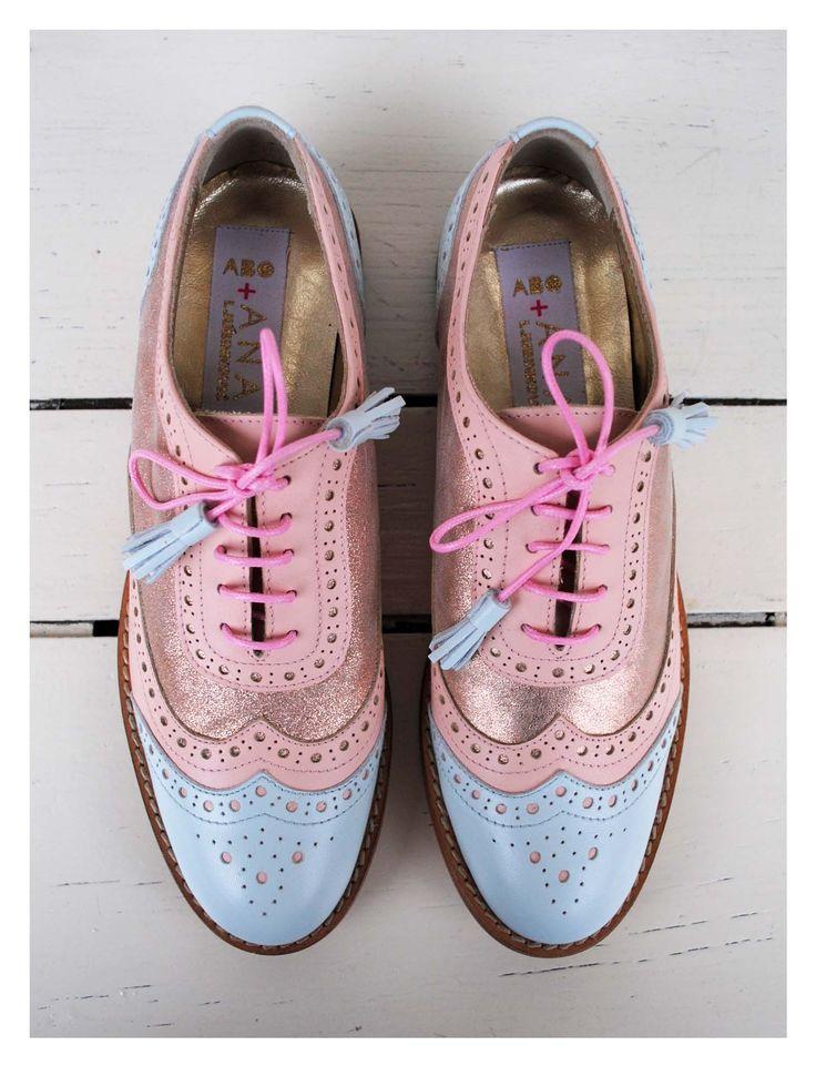 ABO+ Ana Ljubinkovic pink and light blue brogues #abo #abo+analjubinkovic #shoes…