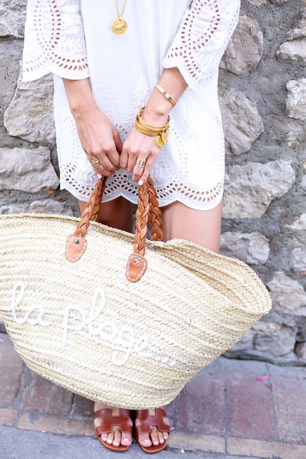 White eyelet lace dress + Hermes sandals + straw market tote