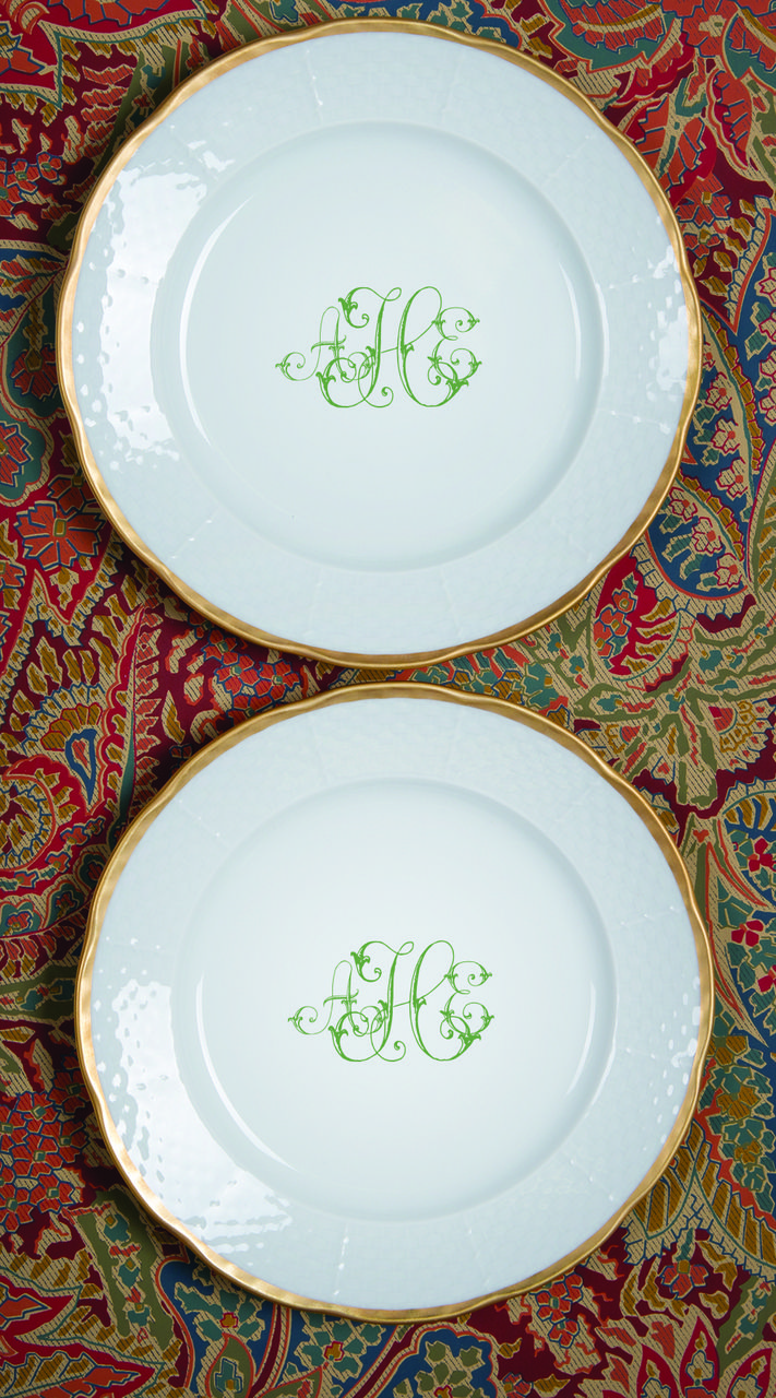 best dinnerware monogrammed images on pinterest  wedding  - weave k gold salad plate with monogram