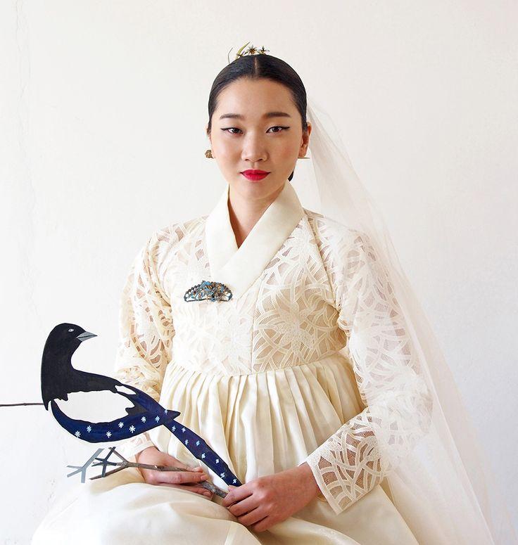 hanbok reinterpreted as a wedding dress