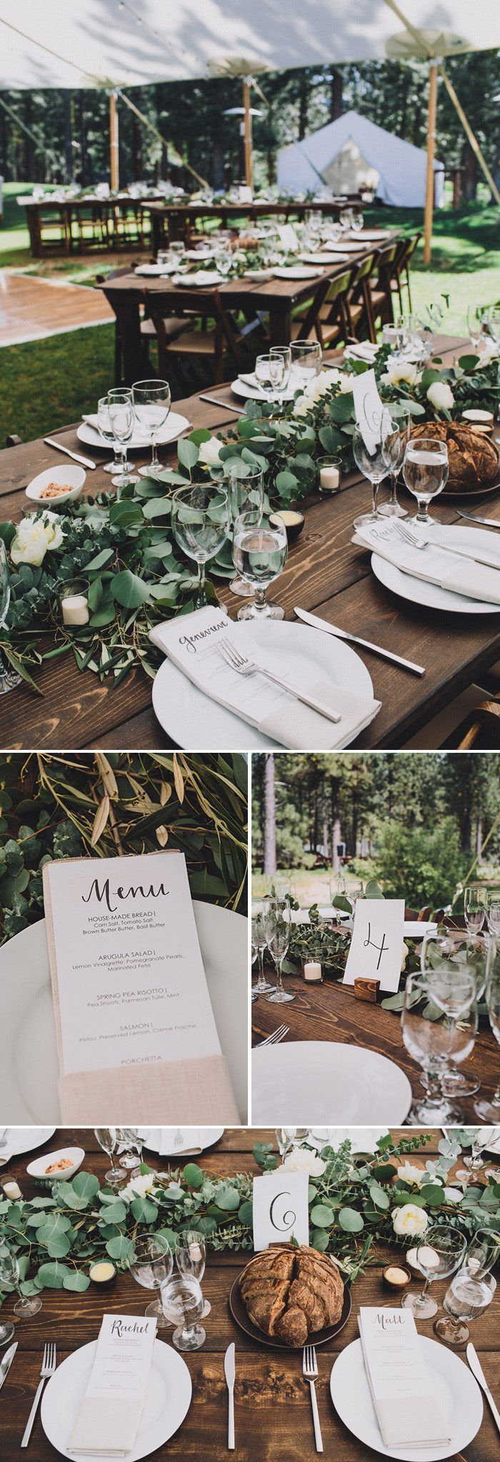Gorgeous lush garland and dark wood tables match the organic + minimal