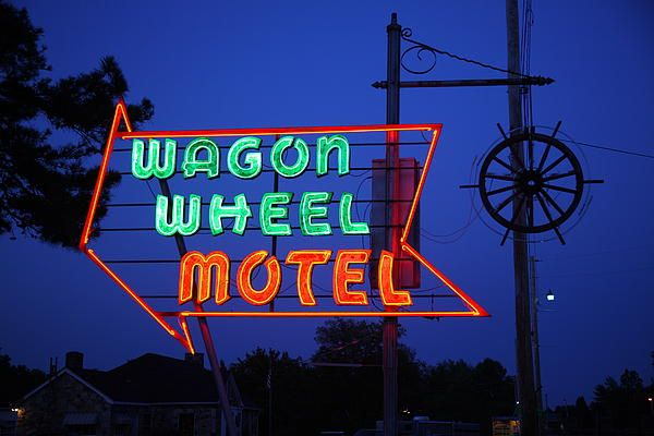 Route 66 - Wagon Wheel Motel, Cuba, Missouri. Road trip! http://frank-romeo.artistwebsites.com/art/all/route+66/all Art Print by Frank Romeo.