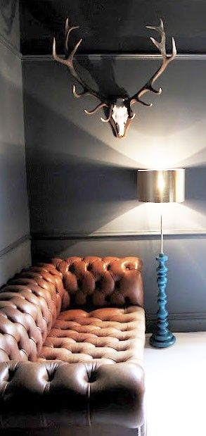 Chesterfield and antlers in the lounge