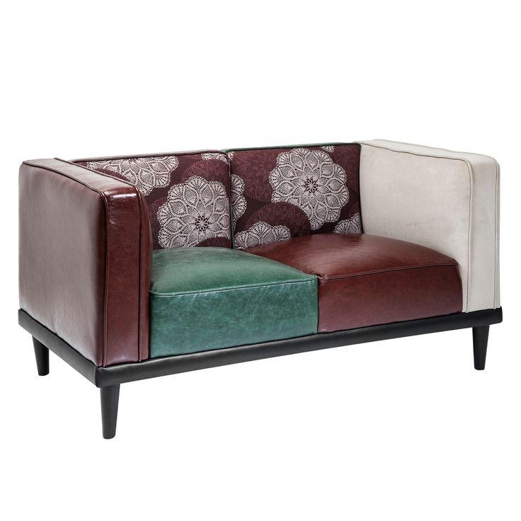 Sofa Dressy (2-Sitzer) - Kunstleder / Webstoff - Mehrfarbig