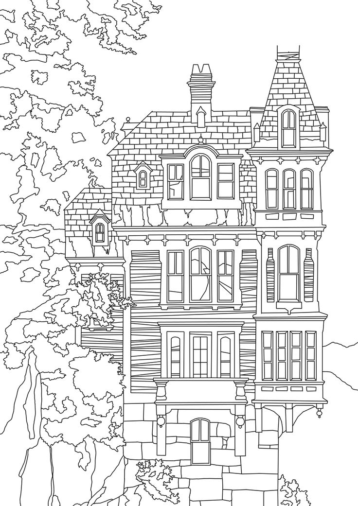 coloring book pages house - photo#33
